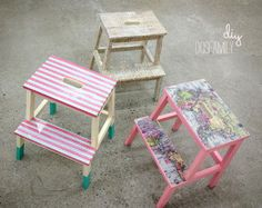 customize your ikea bekvam stool with washi tape, spray paint, decoupage Bekvam Ikea, Bekvam Stool, Ikea Stool, Diy Stool, Step Stools, Painted Stools, Wooden Stools, Kallax, Diy Interior