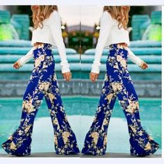 Flower Print Straight Casual High Waist Flared  pants - Meet Yours Fashion  - 1 Flare 3015b5ebd