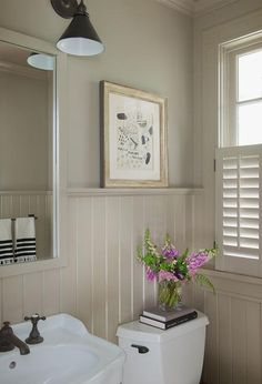 Taupe Powder Room With Beadboard Walls, Cottage, Bathroom