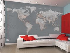 Kids room decor kid room decorations pottery barn kids house contemporary grey world map wallpaper mural gumiabroncs Gallery