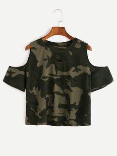 Camo Print Ripped Open Shoulder T-shirt
