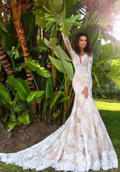 crystal design 2017 bridal long sleeves deep sweetheart neckline full embellished bodice ivory color elegant glamorous fit and flare mermaid wedding dress keyhole back chapel train (rian) mv -- Crystal Design 2017 Wedding Dresses Perfect Wedding Dress, Dream Wedding Dresses, Designer Wedding Dresses, Bridal Dresses, Wedding Gowns, Wedding Venues, Wedding Frocks, Mod Wedding, Lace Wedding