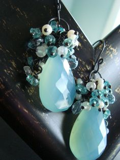 Aqua Chalcedony Gemstone, Pearl, Aquamarine, Oxidized Silver