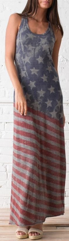 Next summer!!! Americana Racer Maxi Dress - 4th of July party