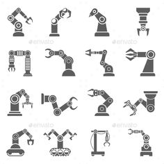 #Robotic Arm #Black #Icons Set - #Abstract Icons Download here: https://graphicriver.net/item/robotic-arm-black-icons-set/14210682?ref=alena994