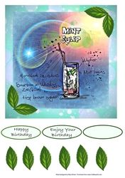 - A light refreshing glass of Mint Julip with the recipe in this design. Decoupage the leaves. Card Designs, It's Your Birthday, Decoupage, Card Making, Mint, Glass, Happy, How To Make, Cards