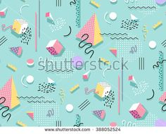 Memphis pattern of geometric shapes for tissue and postcards. Hipster poster, juicy, bright color background.