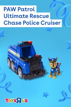 Chase is on the case with the PAW Patrol Ultimate Rescue – Chase Police Cruiser! Give him a great view with transforming seat, then use a barricade to block the way and the extendable hook to save the day!