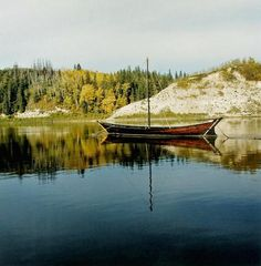 Marian Penner Bancroft's York Boat on the North Saskatchewan River, Fort Edmonton, Alberta, 2004, courtesy Republic Gallery.