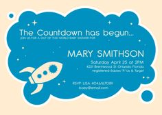 Space Theme Baby Shower Invitation by SugarPinkDesigns on Etsy, $12.00