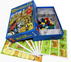 """Carcassonne -- """"A clever tile-laying game. The southern French city of Carcassonne is famous for its unique Roman & Medieval fortifications. The players develop the area around Carcassonne & deploy their followers on the roads, in the cities, in the cloisters, & in the fields. The skill of the players to develop the area will determine who is victorious."""""""