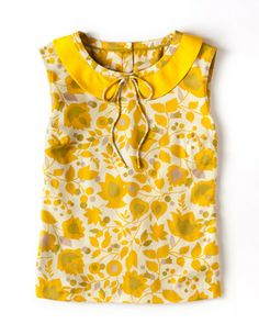 I love this Boden Vintage Sun Top Yellow Trailing Floral! Kids Outfits, Summer Outfits, Summer Clothes, Dress Patterns, Floral Tops, Girl Fashion, Clothes For Women, Shorts, My Style
