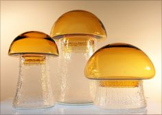 Set of Vintage Scandinavian Glass Mushroom Canisters  Extreme retro vintage glass mushroom canister set.