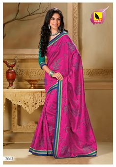 Raw Silk Sari in Raani Pink color New Arrivals of Sarees MRP: Rs.3,050/-  Order Here: http://www.artncraftemporio.com/raw-silk-sari-in-raani-pink-color.html Get the refreshing new look with this manificeintly created saree on raw silk material.
