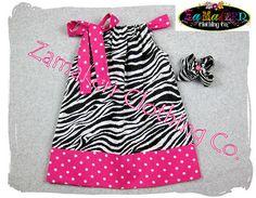Girls Pillowcase Dress Zebra and Pink Polka by ZamakerrClothingCo, $26.50