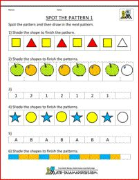 Free Kindergarten Worksheets Spot The Pattern 1 Laerskool Wiskunde
