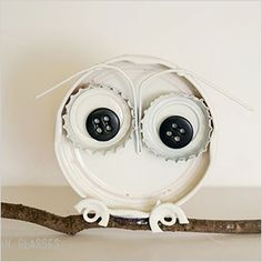 Love this!  Recycled bottle cap owl craft | Sheknows.com
