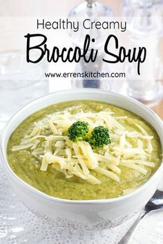 This healthy vegan Creamy Broccoli Soup is easy yet delicious, an irresistible bowl of comfort food makes the best winter lunch or dinner dish. via Kitchen # Easy Recipes lunch Healthy Creamy Broccoli Soup - Erren's Kitchen Easy Soup Recipes, Healthy Recipes, Lunch Recipes, Cream Soup Recipes, Cream Soups, Healthy Soups, Healthy Lunches, Oven Recipes, Kitchen Recipes