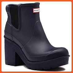 Womens Hunter Original Block Heel Chelsea Snow Wellington Ankle Boots - Midnight - 6 - 37 - Boots for women (*Amazon Partner-Link)