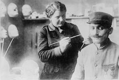 Anna Coleman Ladd working on a mask for a World War I French soldier (via Library of Congress) Any enduring romanticism for war was obliterated by the industrialized brutality of World War I, from wh