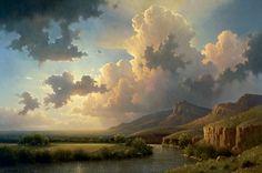 Artwork Enlargement Fantasy Landscape, Landscape Art, Landscape Paintings, Landscape Photography, Beautiful Sky, Beautiful Landscapes, Sky Painting, Southwest Art, Outdoor Sculpture