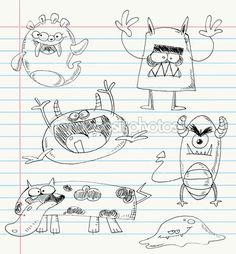 mostro doodles set 2 — Vettoriale Stock  #7356493