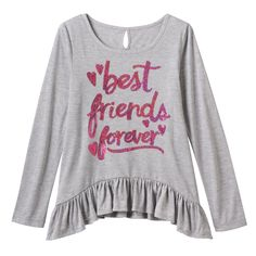 Girls Plus Size SO® Sharkbite Hem Keyhole Top, Girl's, Size: 12 1/2, Med Grey