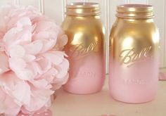 Pink and Gold Ombre Mason Jars Gender Reveal Baby by TwoTeaOwls