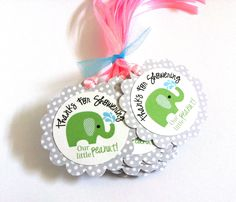 Green Elephant Favor Tags - Thanks for Showering Our Little Peanut This is a listing for a set of 12 (twelve) Thanks for Showering our little peanut green Elephant Favor Tags. The design is whimsical and perfect for a gender neutral baby shower party. They makes an eye-popping presentation. What a fun and playful way to say thank you to your guests who come to your #Elephant themed #party. #favortag #baby #babyshower