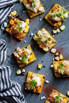 Mexican Street Corn Grilled Polenta Bites - Snixy Kitchen