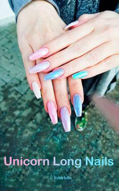 The Best Unicorn Nail Art Design Ideas & Tutorials Unicorn Nail Powder, Unicorn Nail Art, Simple Nail Art Designs, Easy Nail Art, Nail Designs, Chrome Nail Powder, Chrome Nails, Red Nails, Hair And Nails