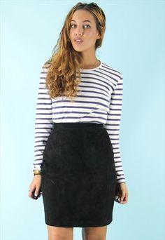 Black Suede High Waisted Mini Skirt