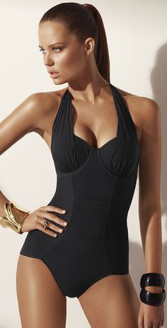 Jets 2013 Aspire Black One Piece Halter Swimsuit