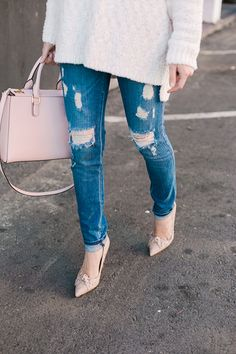 distressed jeans with bow heels from Kate Spade on M Loves M
