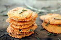 Rosemary parmesan crackers - A great appetizer recipe. Serve with cheese or on a charcuterie plate