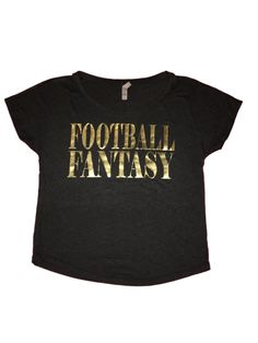 New Orleans Saints Football Fantasy Women's Tee - Vintage Black with gold foil print, black & yellow