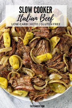 Slow Cooker Italian Beef, Low Carb Slow Cooker, Slow Cooker Beef, Slow Cooker Recipes, Cooking Recipes, Low Carb Crockpot Recipes, Italian Cooking, Oven Recipes, Easy Recipes