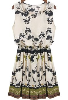 Green Sleeveless Floral Pleated Dress 18.17