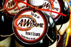 """Akela's Council Cub Scout Leader Training: """"You're an Awesome Cub Scout Leader"""" Thanks for all you do. A Root Beer PRINTABLE, Leader Thank You/Appreication Gift"""