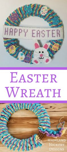 Crochet Ideas Easy Crochet this Easter Wreath for your home or office. This free pattern uses only easy stitches. The main body of the wreath is constructed of 3 long garlands that are wrapped around a wire wreath frame. Holiday Crochet, Easter Crochet, Crochet Home, Crochet Crafts, Crochet Projects, Free Crochet, Modern Crochet, Crochet Tutorials, Crochet Wreath