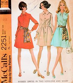 Vintage McCall's Pattern 2251 Misses' Size 12 Bust 34 - Misses' Dress In Two Versions And Scarf McCall Pattern Mccalls Patterns, Size 12, Vintage, Dresses, Gowns, Dress, Day Dresses, Primitive, Clothing