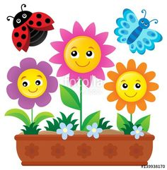Flower box theme image 1 - Buy this stock vector and explore similar vectors at Adobe Stock Teacher Classroom Decorations, Classroom Crafts, School Decorations, Art Drawings For Kids, Drawing For Kids, Art For Kids, Kids Crafts, Preschool Crafts, Barbie Paper Dolls