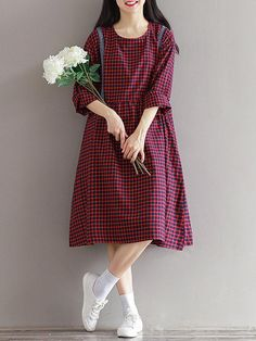Specification Sleeve Length 3 4 Sleeve Neckline O-neck Color Wine Red Style Casual Loose Dress Length Knee Pattern Plaid Material Cotton Polyester Season Summer Autumn Package included 1 Dress Stylish Dresses, Simple Dresses, Cheap Dresses, Plus Size Dresses, Casual Dresses For Women, Pretty Dresses, Dress Casual, Red Fashion, Women's Fashion Dresses