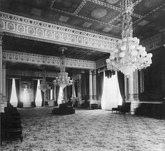 The White House East Room after the Tiffany redecorating, around 1883.