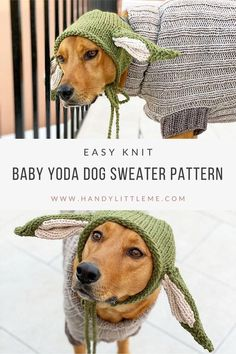 Baby Yoda Pattern - Dog sweater pattern and hat. Make your dog a fun knitted outfit inspired by Baby Yoda from the Mandalorian series. Knit in Bulky/Chunky/12 Ply yarn, this is a great project for any advanced beginner knitters. The ribbed dog sweater pattern will keep your dog warm during those chilly walks while the hat can be worn for a laugh with the kids! #dogsweater #babyyoda #thechild #mandalorian #knitting Free Knitting Patterns For Women, Beginner Knitting Patterns, Knitting Projects, Knitted Dog Sweater Pattern, Sweater Knitting Patterns, Baby Knitting, Knitting Abbreviations, Ear Warmer Headband, Crochet Beanie