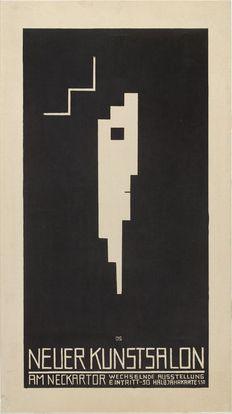Poster by Oskar Schlemmer (German, 1888–1943), 1913, Neuer Kunstsalon, Stuttgart, Graphische Sammlung-Stuttgart. (Bauhaus)