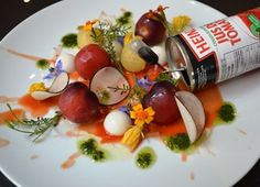 Deconstructed Heirloom Tomato Salad with Goat Cheese Panna Cotta and Agar Tomato Gel Tomato Juice, Tomato Salad, Goat Cheese Salad, Basil Pesto, Heirloom Tomatoes, Agar, Edible Flowers, Chef Recipes, Goats