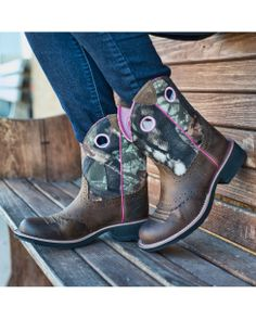Ariat Women's Fatbaby Cowgirl Boot - Distressed Brown/Mossy Oak $99.95    http://www.countryoutfitter.com/products/16170-womens-fatbaby-cowgirl-boot-distressed-brown-mossy-oak?lhs=u_p_p_n_a&lhb=co&lhc=womens_boots&lhg=ariat&utm_source=pinterest&utm_medium=social