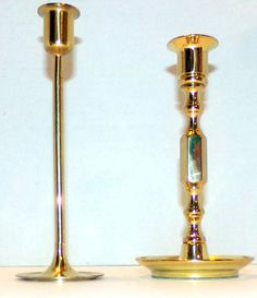 "Vintage Brass Candlestick Candle Holders 7.5 & 8"" Tall Set of 2 #BaldwinUnmarked #CandleStickHolders"