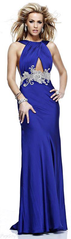Tarik Ediz Indigo Evening Gown